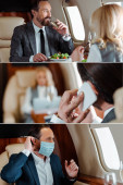 Collage of business people drinking champagne, talking on smartphone and using medical mask in plane