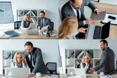 Collage of business people working with papers and laptop in office