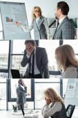 Koláž podnikatelů pracujících s grafy a gadgets v úřadu