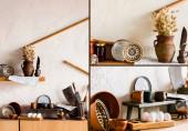 fogások kollázsa agyagedényekben tálak, csészék, kések és nyers tojások közelében a konyhában