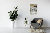 Fotografie šedé křeslo u konferenčního stolku se zelenými rostlinami a rámečkem v moderním obývacím pokoji