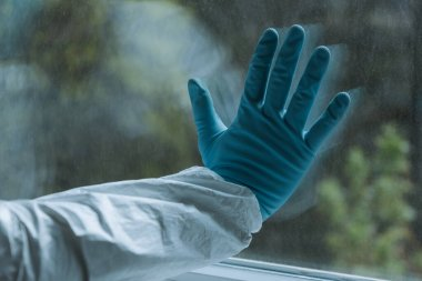 Cropped view of man in latex glove touching window, quarantine concept stock vector