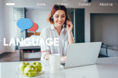 beautiful smiling freelancer with apples and cup of coffee working with headset and laptop at home on quarantine with language lettering