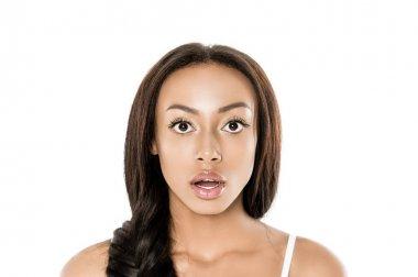 shocked african american woman