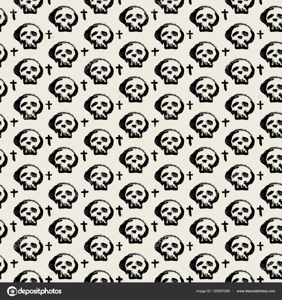 Textura de grunge de cráneos sin costura textil doodle patrón ...