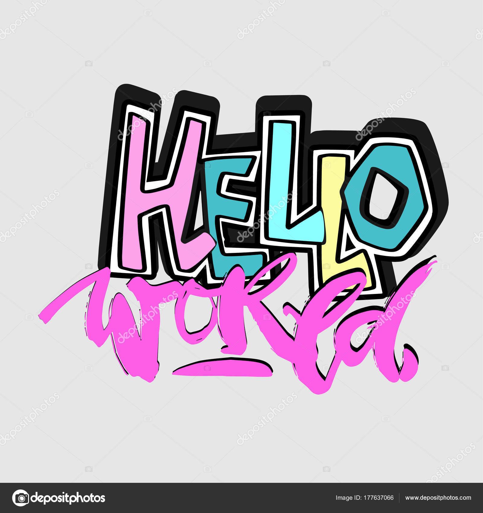 Bonjour tout le monde, le modèle de main artisanat encre expressive  motivateur — Image vectorielle