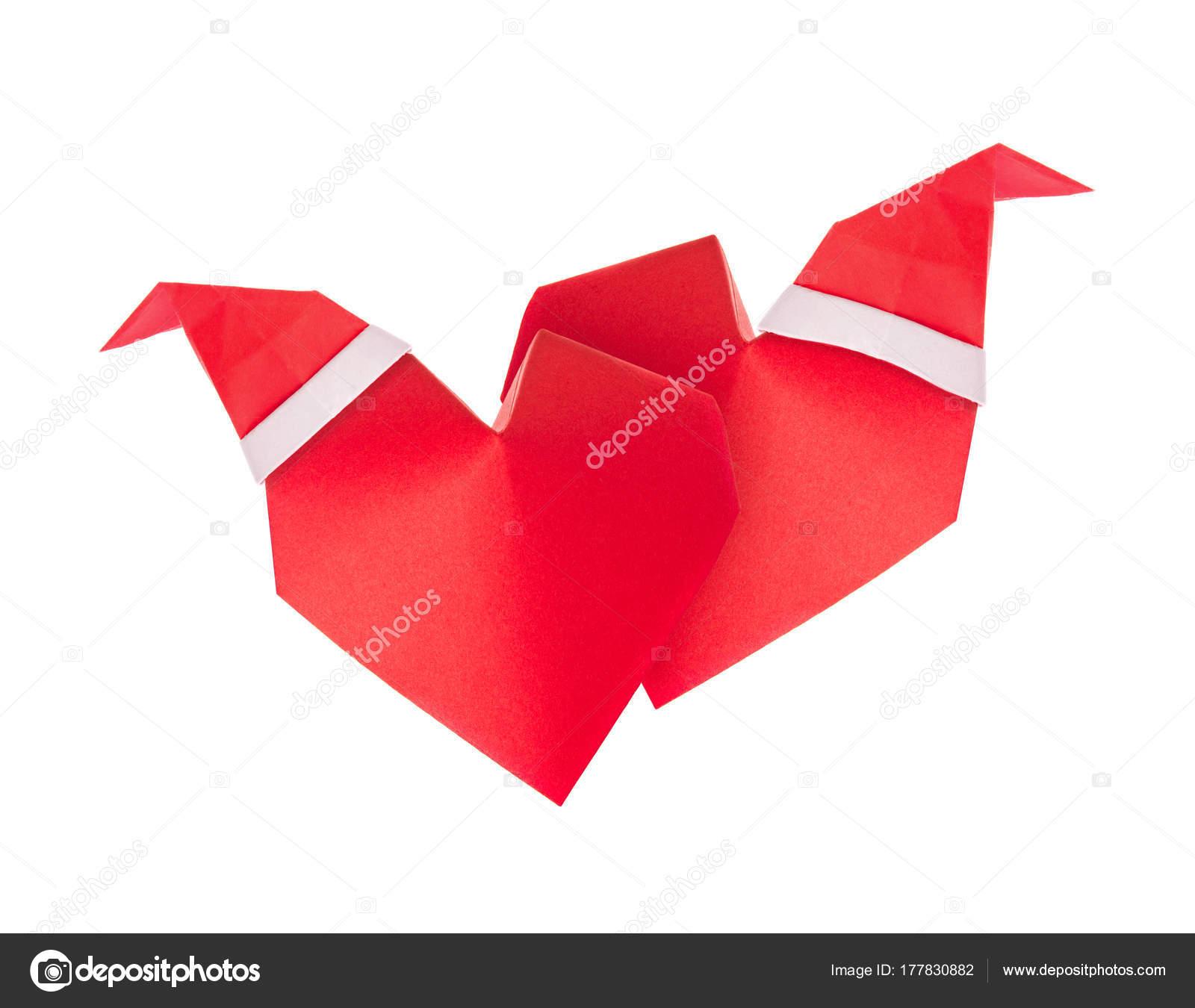 Gorro Papa Noel Origami Rojo 3d Corazones De Origami Con Gorros De - Origami-papa-noel