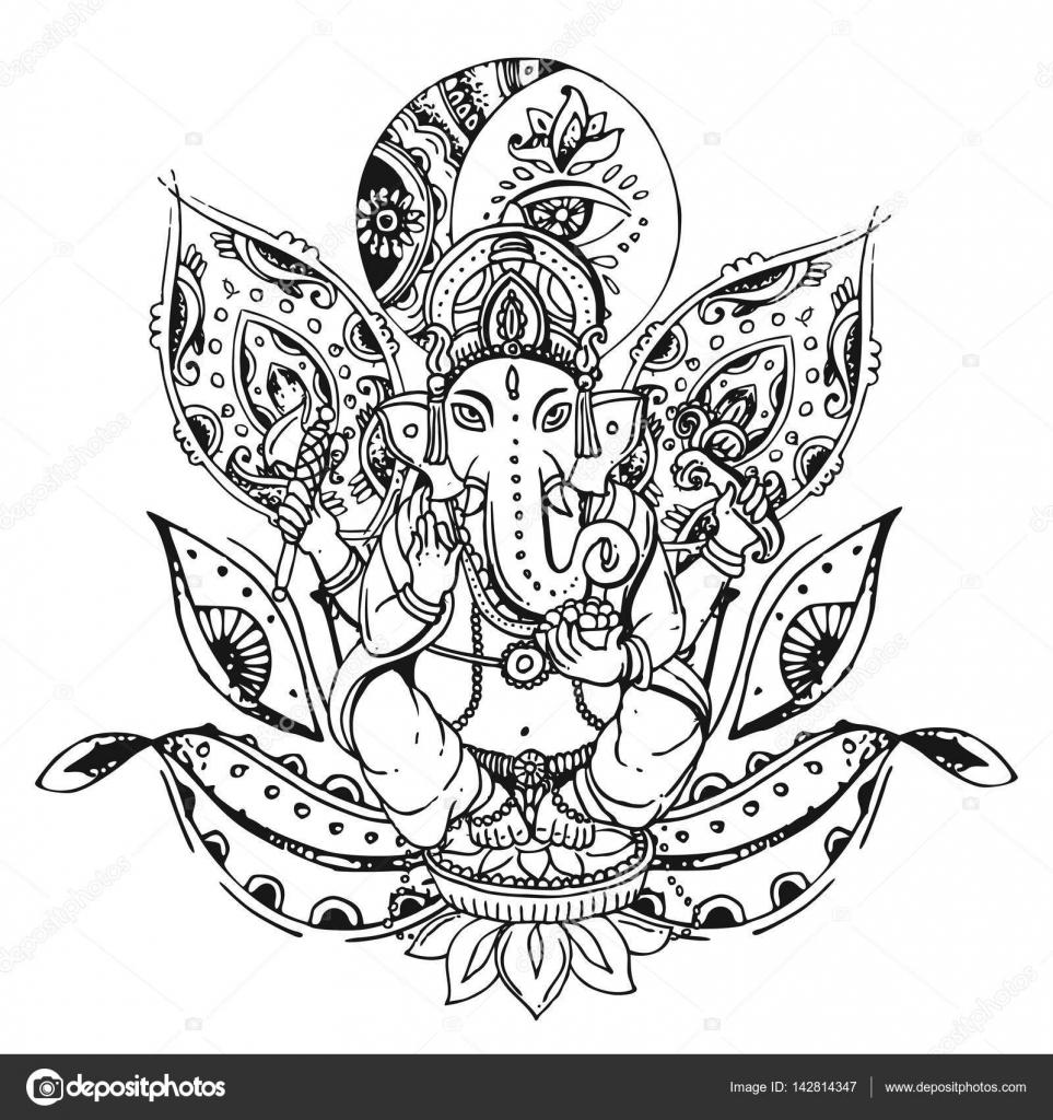 Ilustración de vector con Ganesha — Vector de stock © Margarita_87 ...