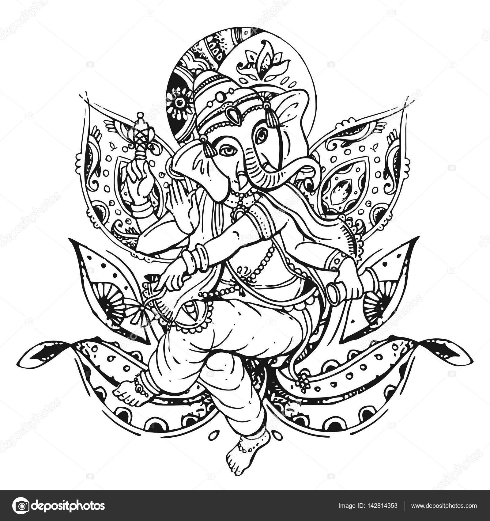 Ilustración de vector con Ganesha — Archivo Imágenes Vectoriales ...