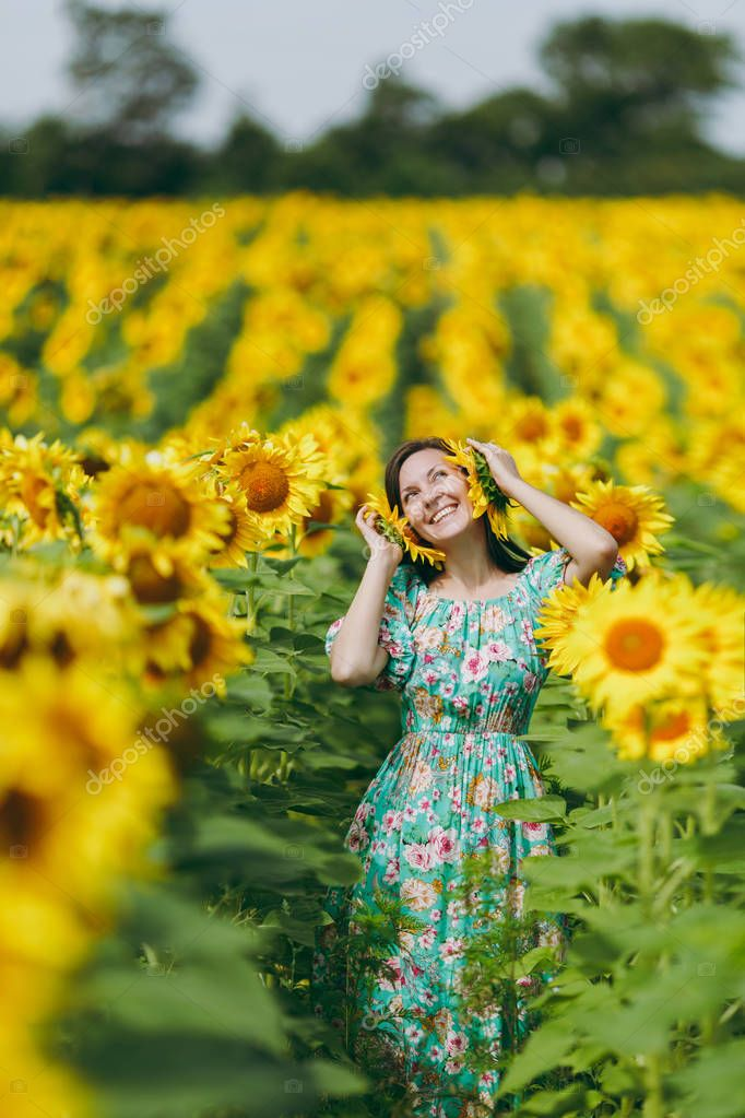 A girl attached sunflowers to her ears
