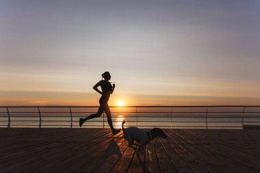 Silhouette of a young beautiful athletic girl with long blond hair in headphones that runs at dawn over the sea with her dog
