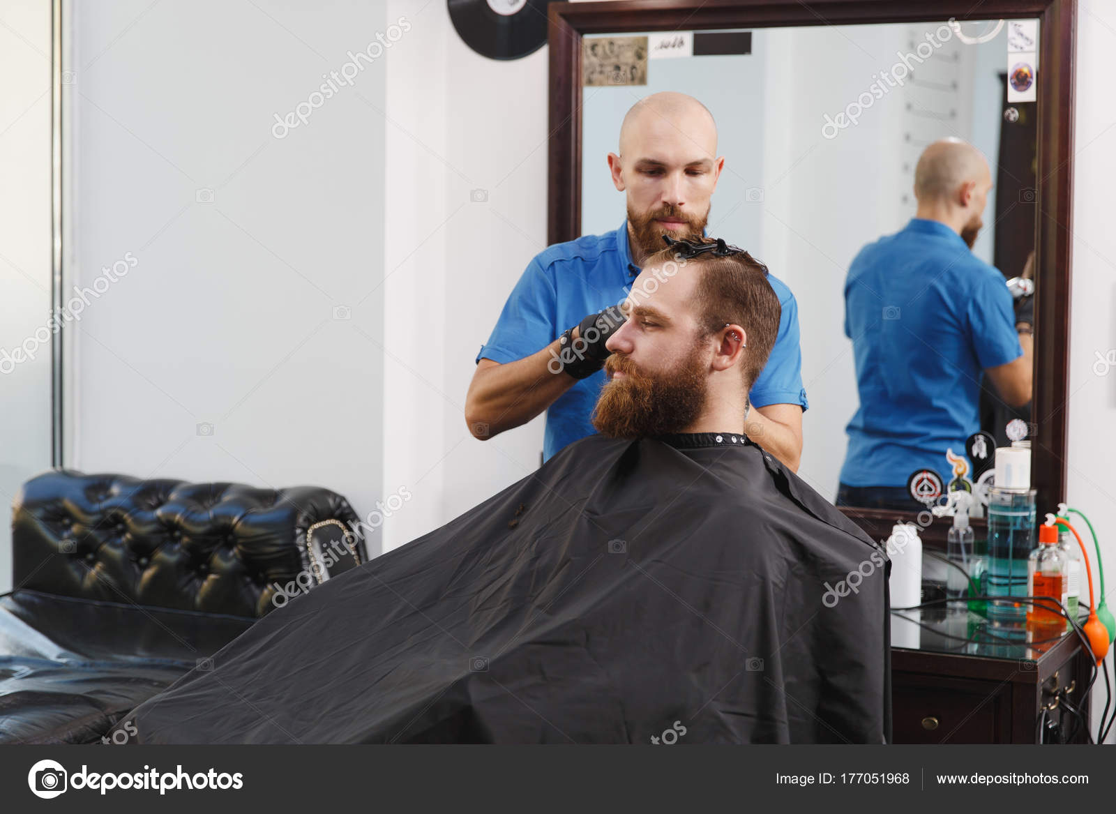 Bearded Man Long Beard Brutal Caucasian Hipster With Moustache On Serious Face Unshaven