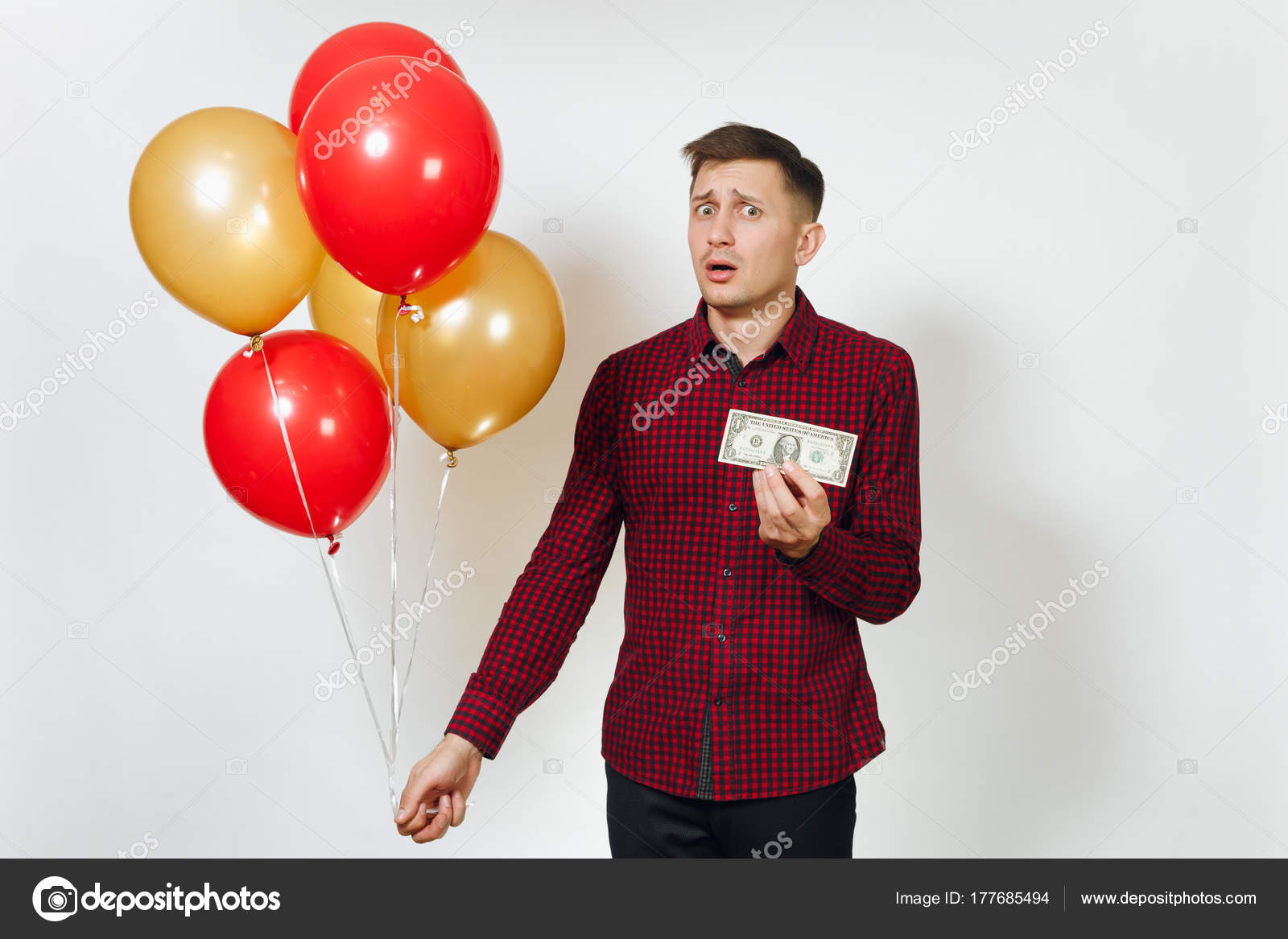247e2425 Handsome caucasian sad upset young y man in red plaid shirt with — Stock  Photo