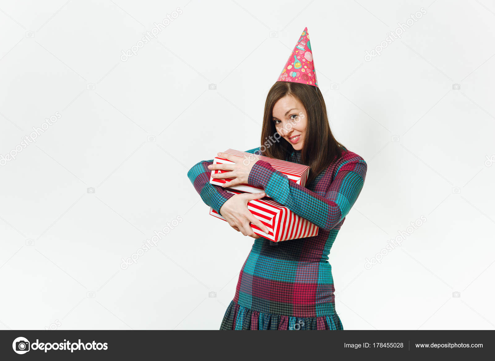 Schönes Lächeln kaukasischen Spaß junge glückliche Frau im karierten ...