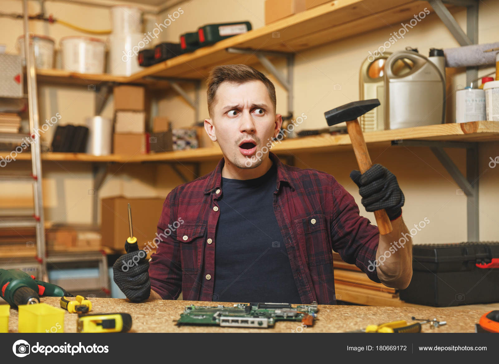 Multimeter For Electrician Caucasian Young Man In Plaid Shirt Electric Circuit Board Processor Tshirt Black T Digital Electronic Engineer Repairing Soldering Computer Pc Motherboard Workshop At Wooden Table With