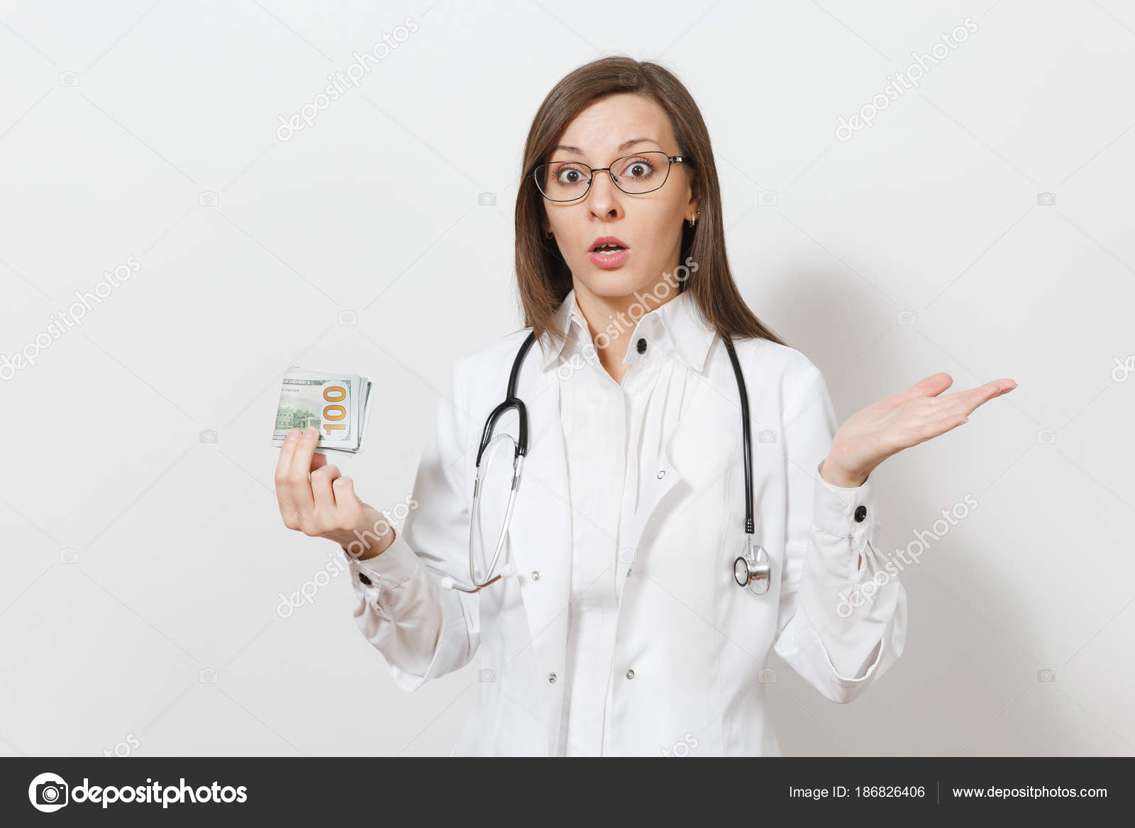 Shocked young doctor woman with stethoscope, glasses isolated on ...