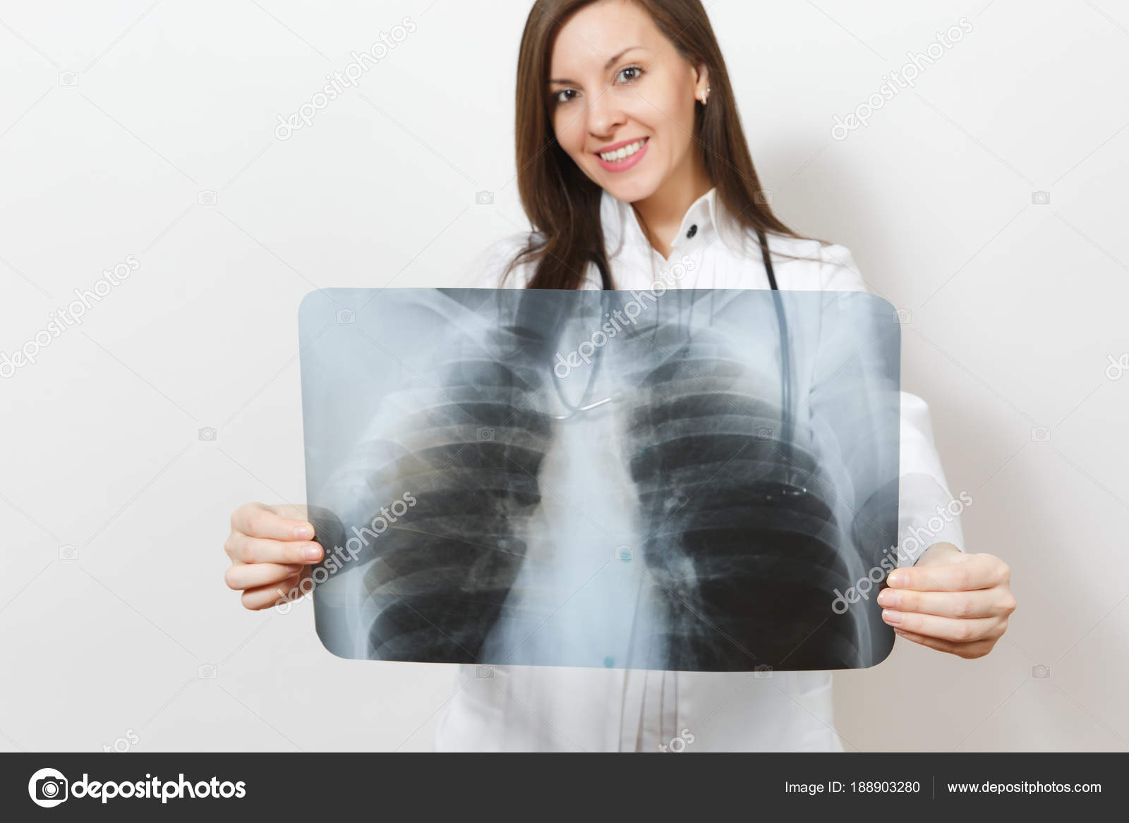 Close up cropped doctor woman with X-ray of lungs, fluorography ...