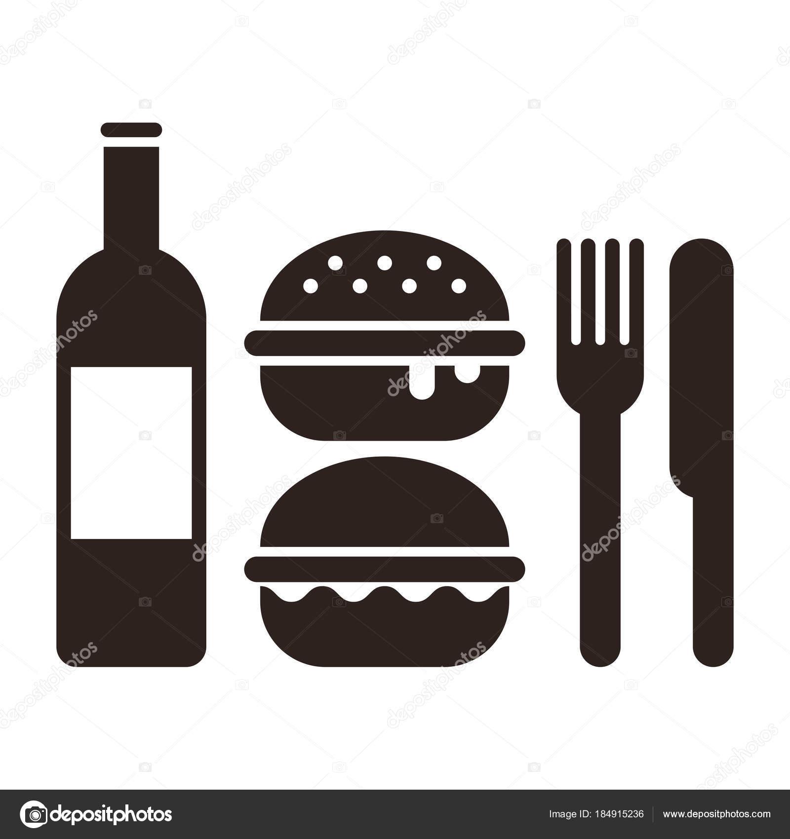 Burgers Knife Fork And Bottle Stock Vector Nikolae 184915236