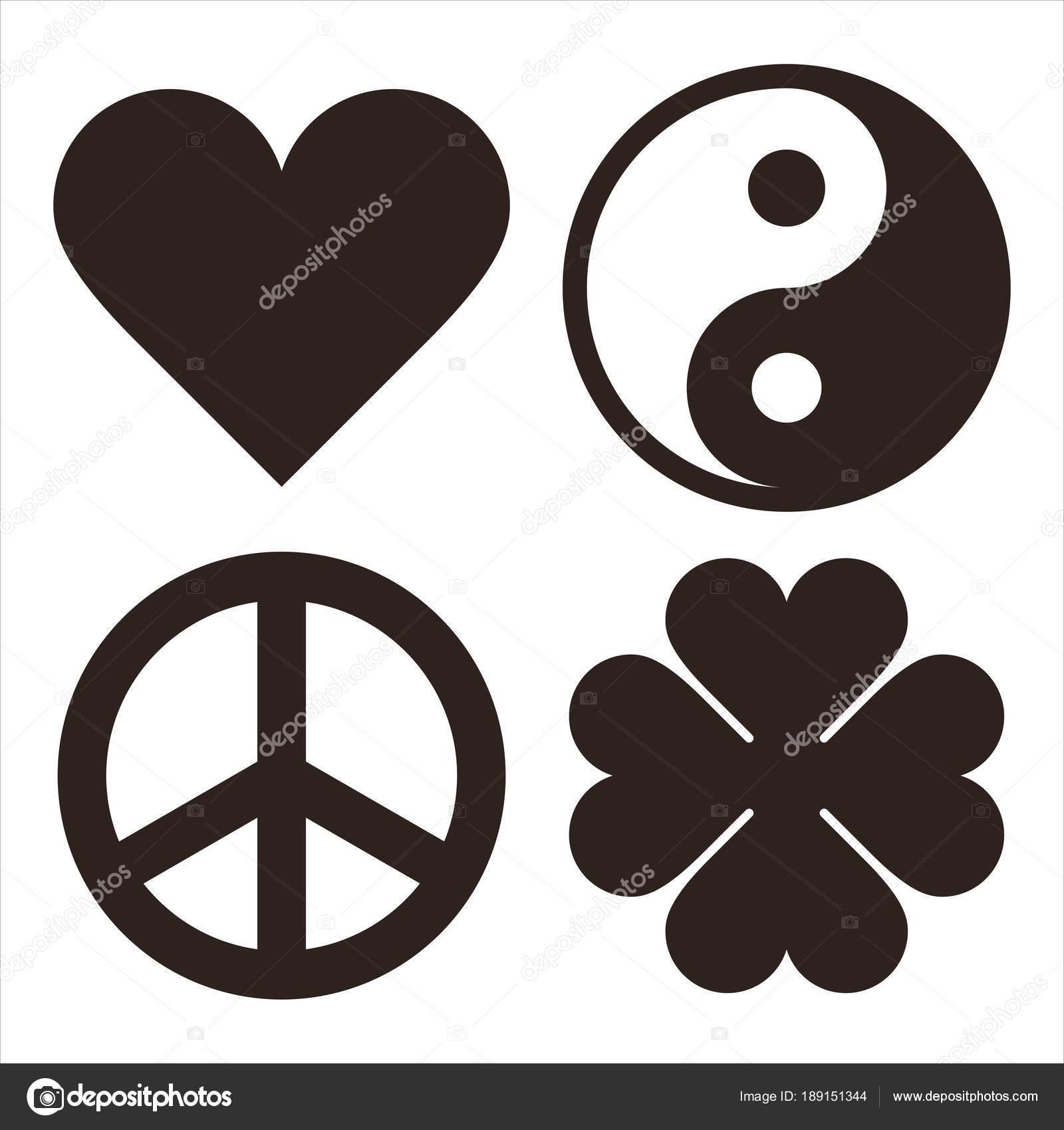 Heart Yin Yang Peace Symbol And Clover Symols Stock Vector