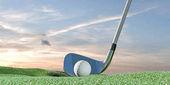 3D obrázek golfový míček na zelené