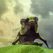 illustrazione 3D di una rana su una foglia verde