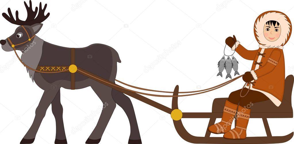 Garçon Esquimau Cheval En Traîneau Avec Un Tas De Poissons à
