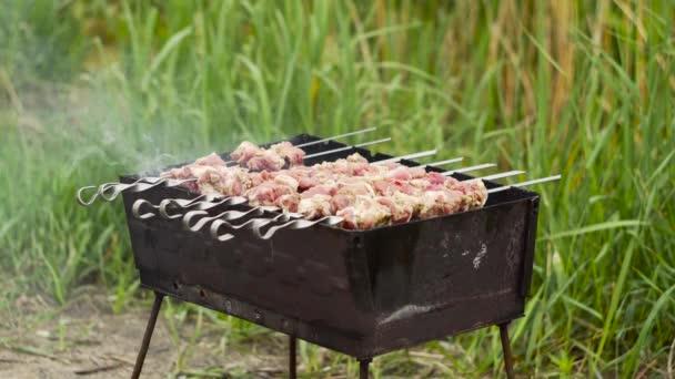 Maso se smaží na špejlích na grilu. Vaření shashlik.