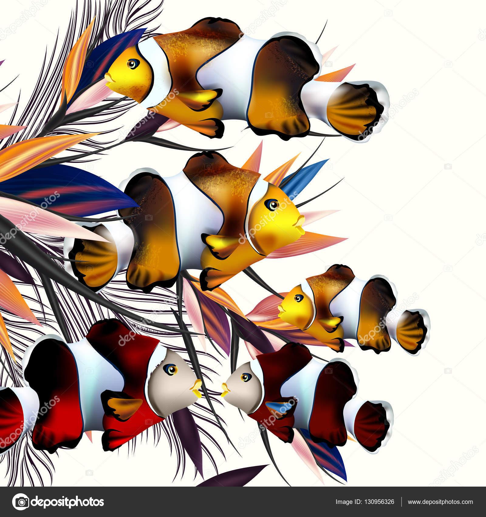 Illustrazione Con Pesci Colorati E Palme I Fogli Per Il Disegno