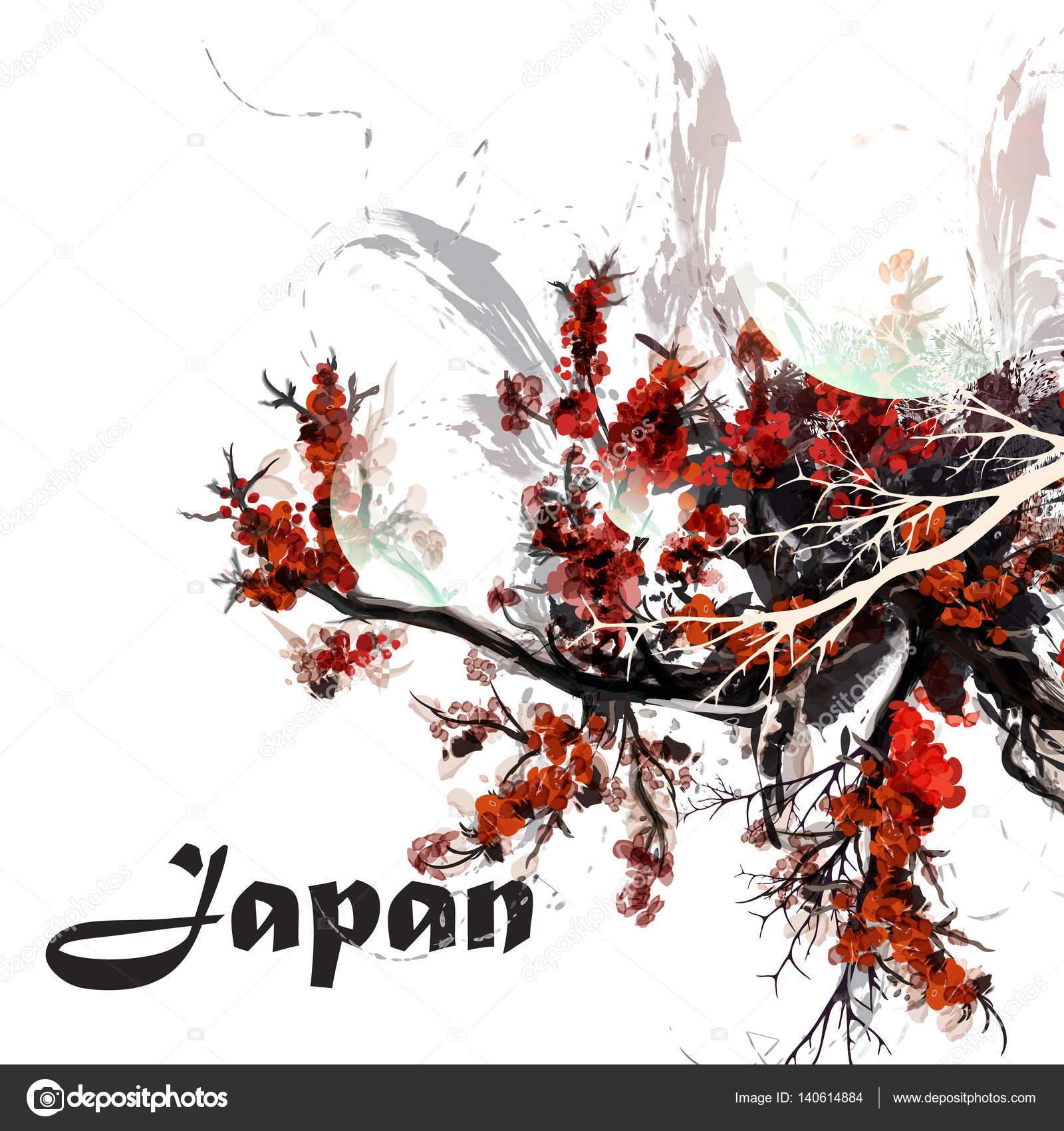 Sulu Boya Boyalı Kiraz Ağacı Dalları Japonya Tarzı Ile Arka Plan