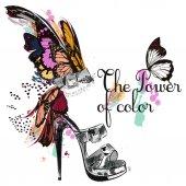 Beautiful fashion illustration with ahnd drawn female shoe. I ne