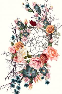 Beautiful boho illustration with dreamcatcher, rose flowers and