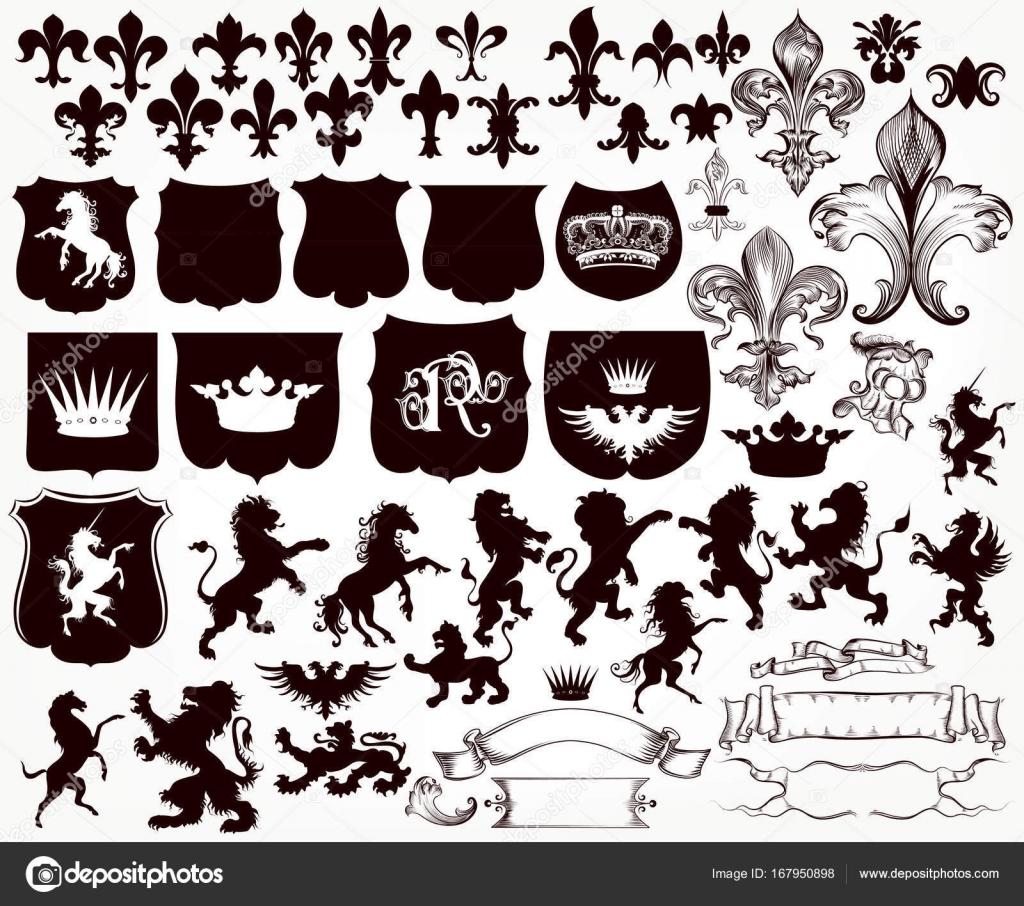 盾の紋章コレクション、ライオン、グリフィンのシルエット、 — ストックベクタ