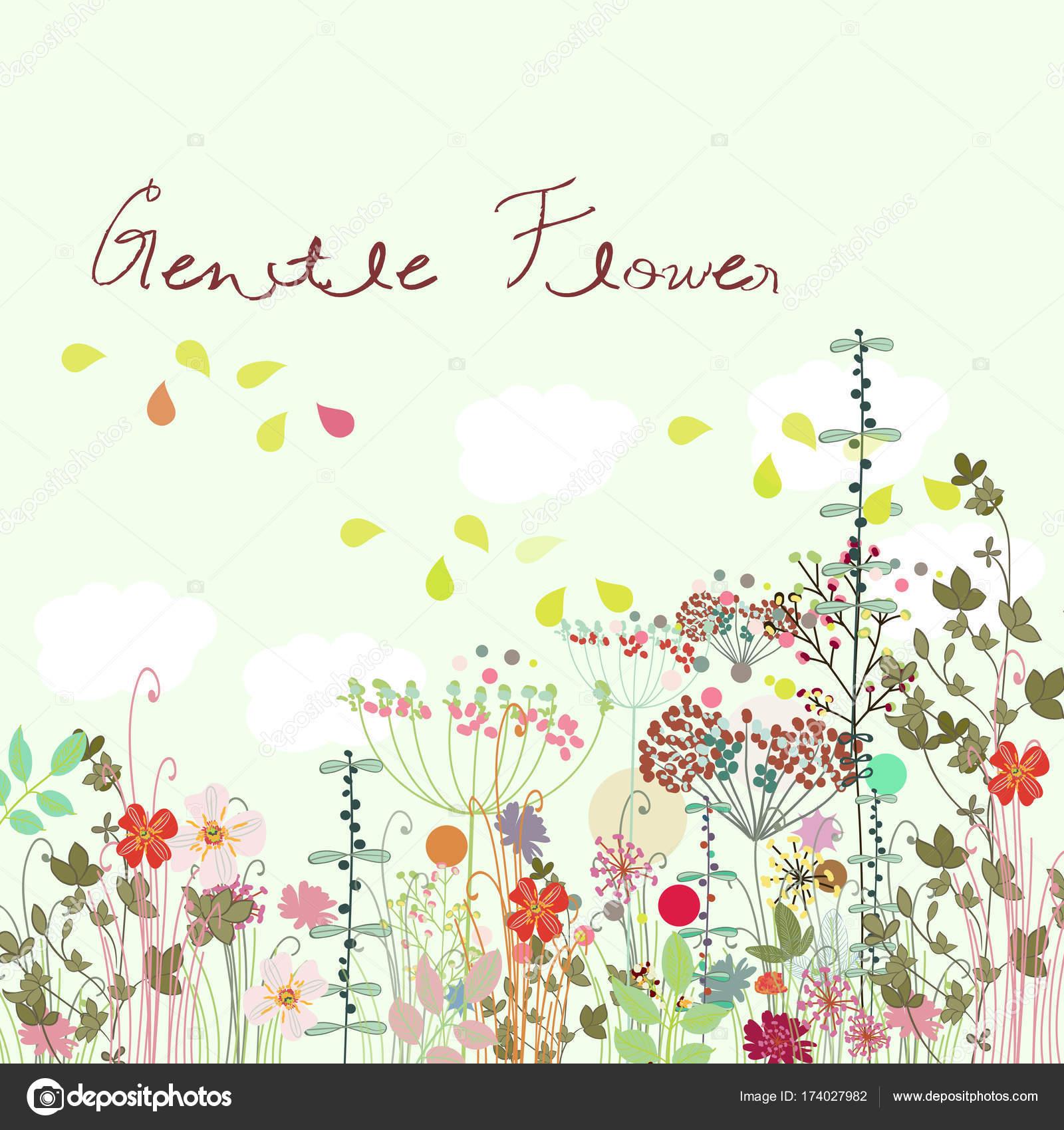 野夏の花かわいい花のイラスト ストックベクター Mashakotscur