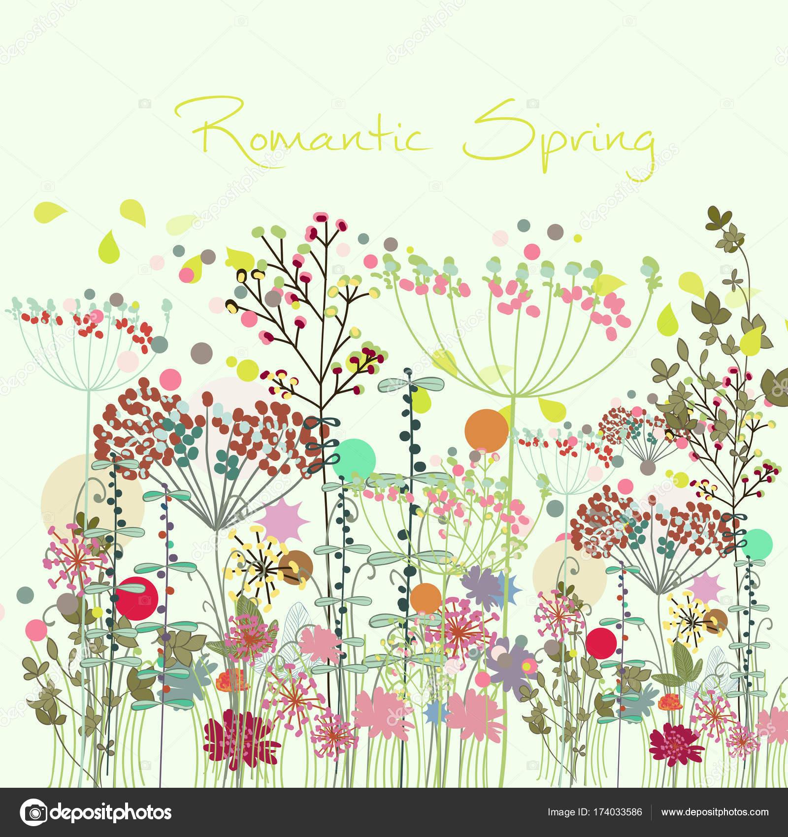 野夏の花と春の花のイラスト ストックベクター Mashakotscur 174033586