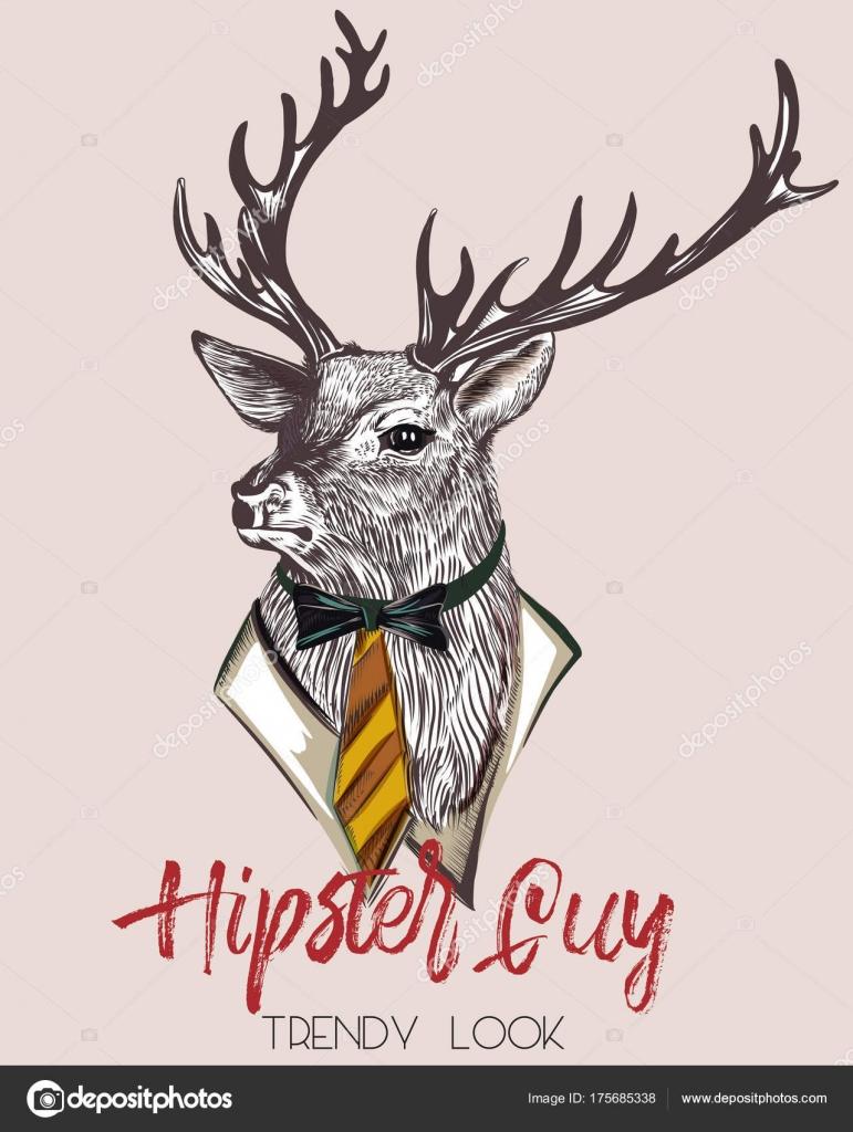 スタイリッシュな鹿のファッション流行に敏感なイラスト ストック