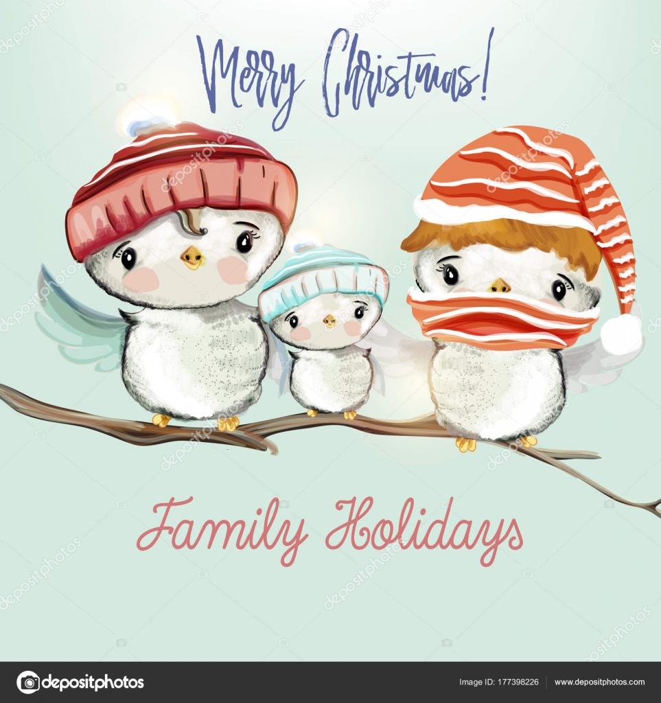 Weihnachtsgrüße Familie.Weihnachtsgrüße Mit Niedlichen Vögel Vektor Illustration Familie H