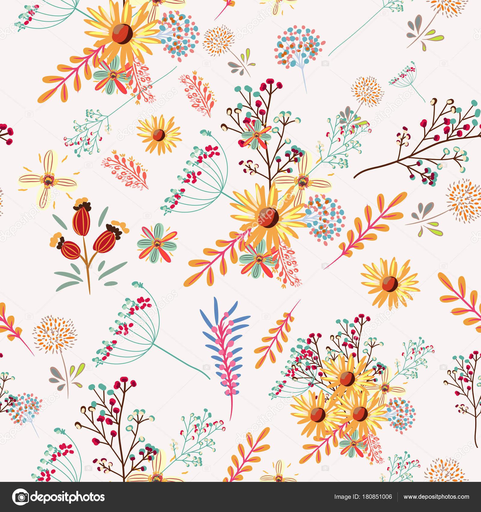 カラフルなパステル カラーのお花でかわいい花柄 — ストックベクター