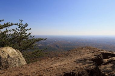 View from Backside Trail at Crowders Mountain State Park in North Carolina during the fall