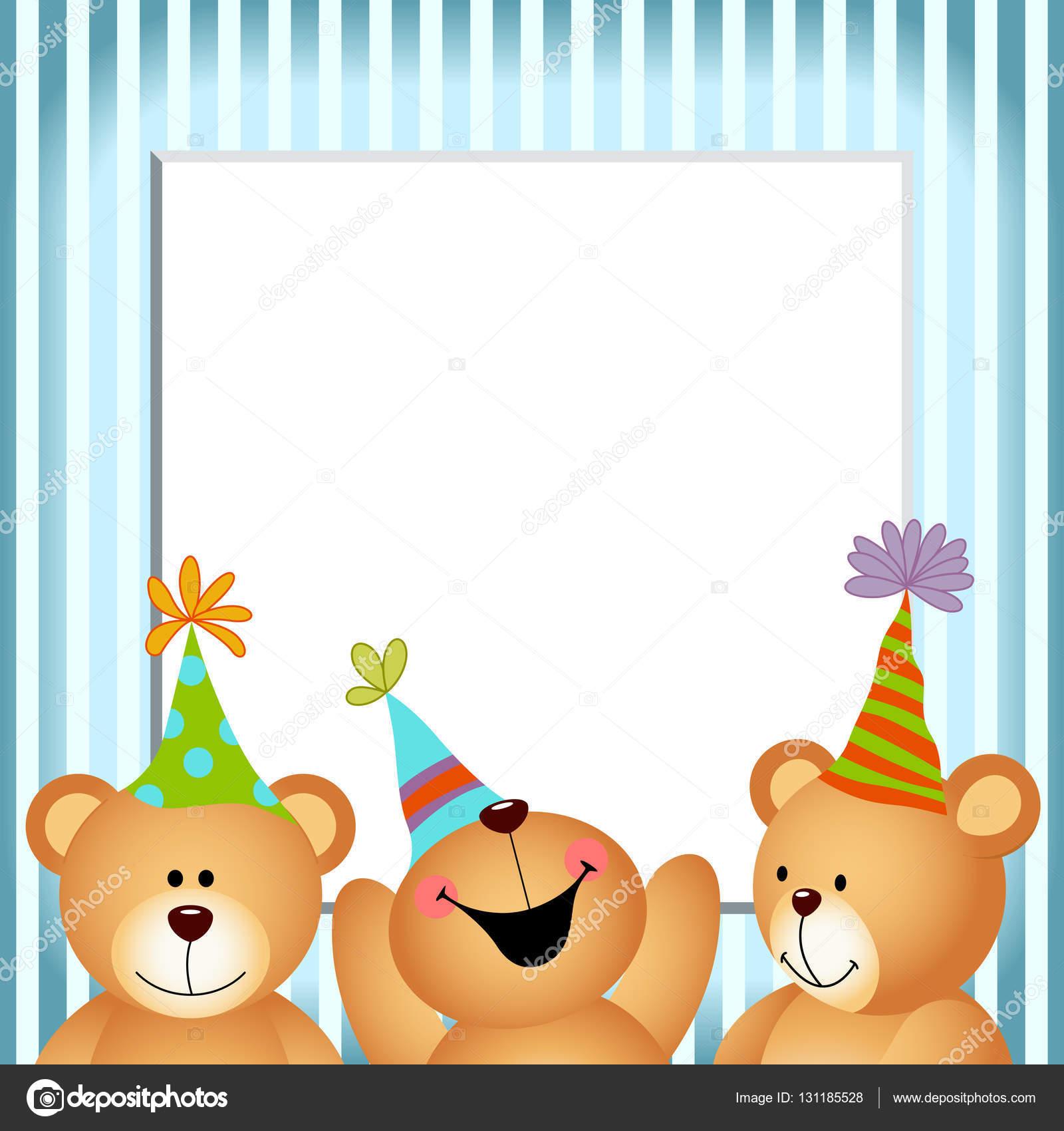 Blauer Rahmen-alles Gute zum Geburtstag-Teddybären — Stockvektor ...
