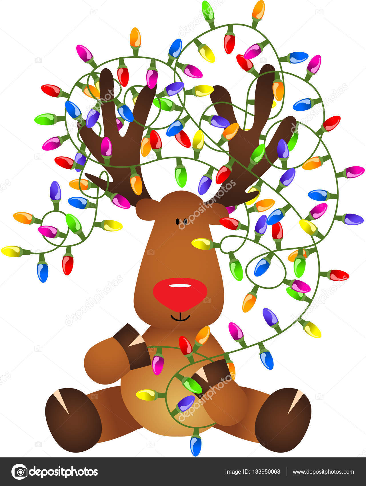 cute reindeer with christmas lights stock vector clipart of reindeer christmas reindeer clipart free