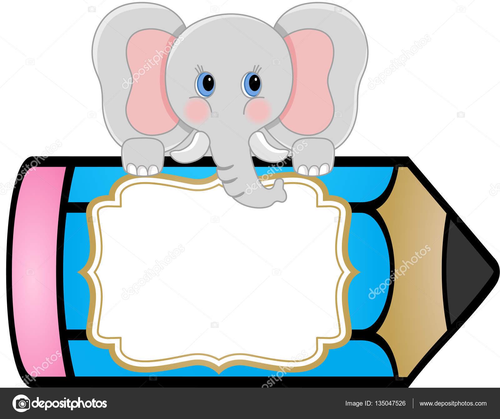 Baby Elefant Mit Bleistift Personalisierte Aufkleber Sticker