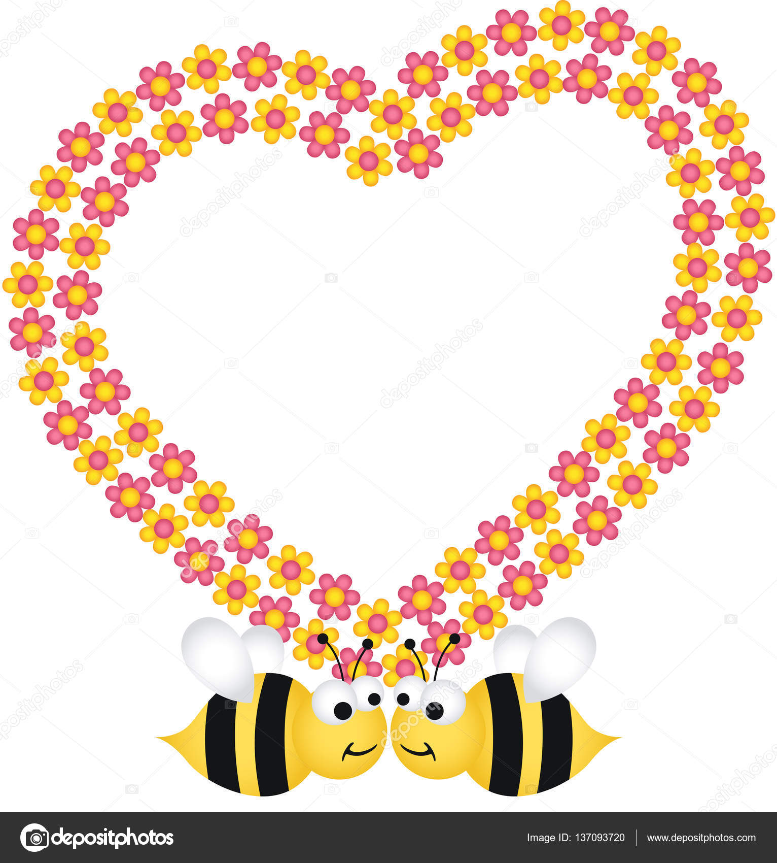 Couple bees with flower heart frame — Stock Vector © socris79 #137093720