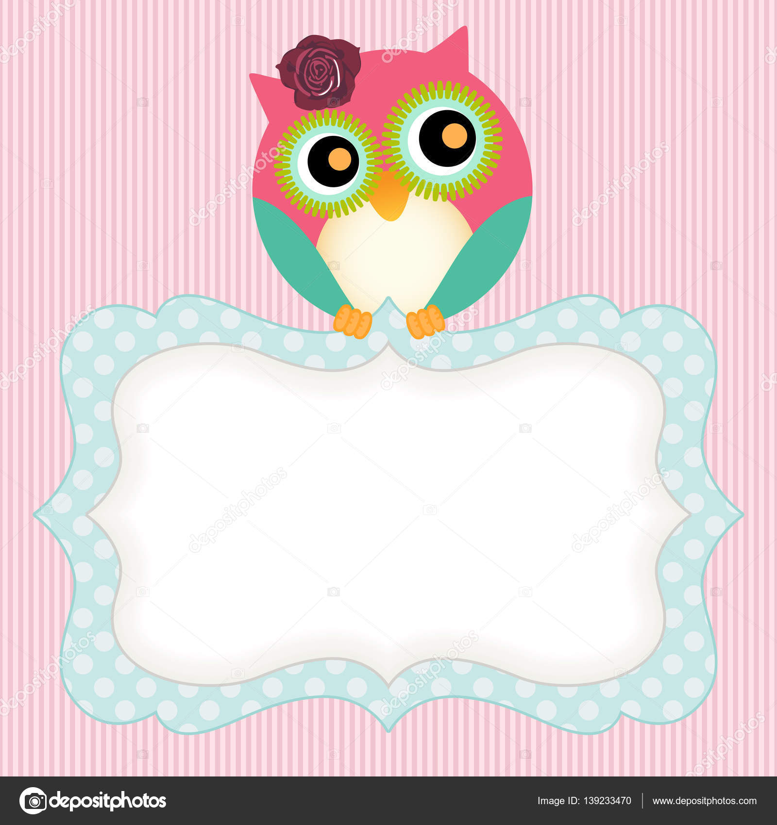 background with cute owl and label — stock vector © socris79 #139233470