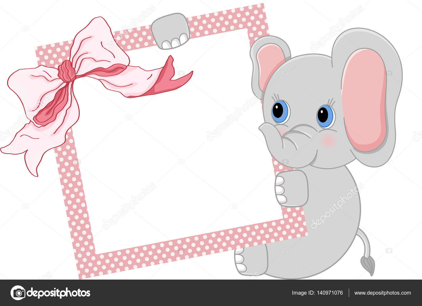 Baby elephant holding pink frame and ribbon — Stock Vector ...