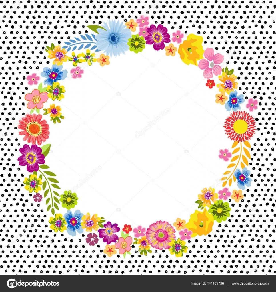 Tarjeta vintage con un cuadro de flores redondo — Vector de stock ...