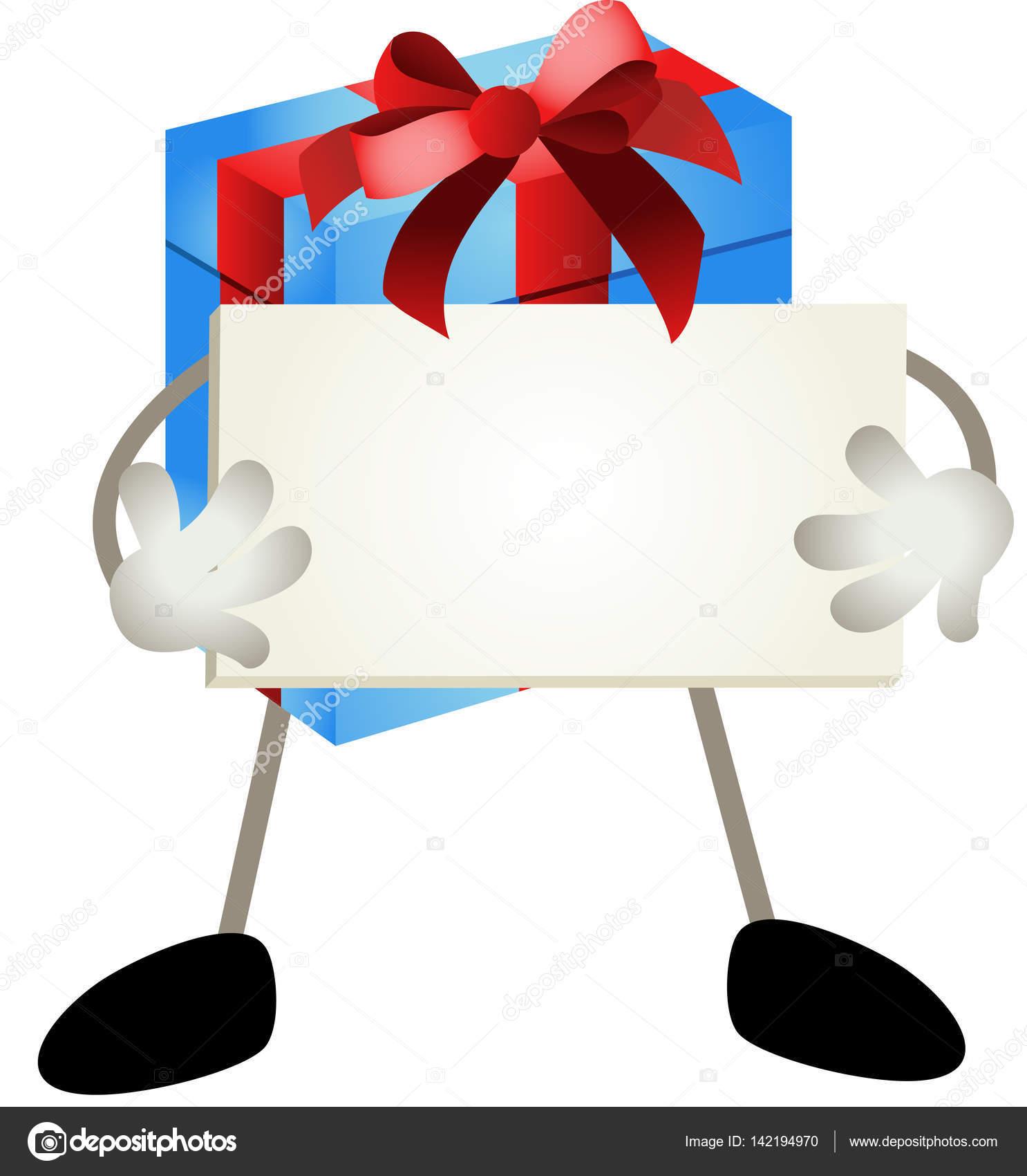Blaues Geschenk Maskottchen hält leere Schild — Stockvektor ...