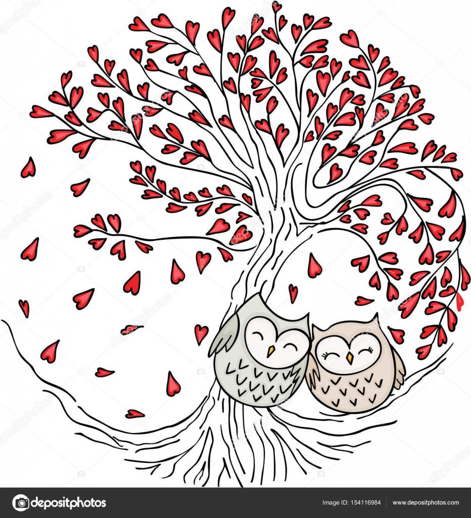 Buhos de linda pareja en árbol de amor — Vector de stock © socris79 ...