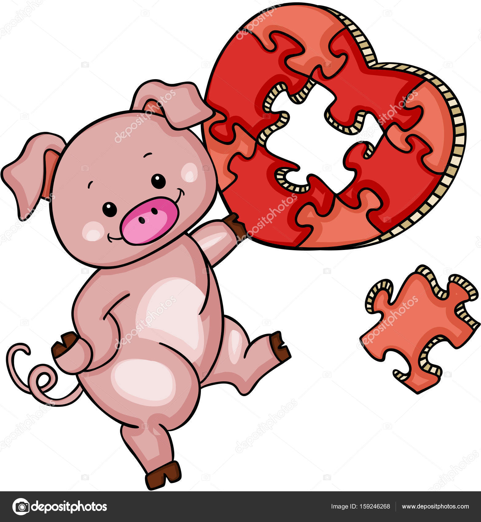 Cute pig with heart shaped puzzle — Stock Vector © socris79 #159246268 for Pig Heart Cartoon  588gtk