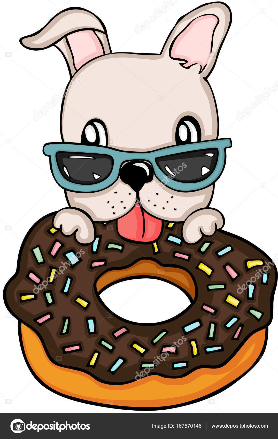 Dog eating chocolate cake donut Stock Vector socris79 167570146