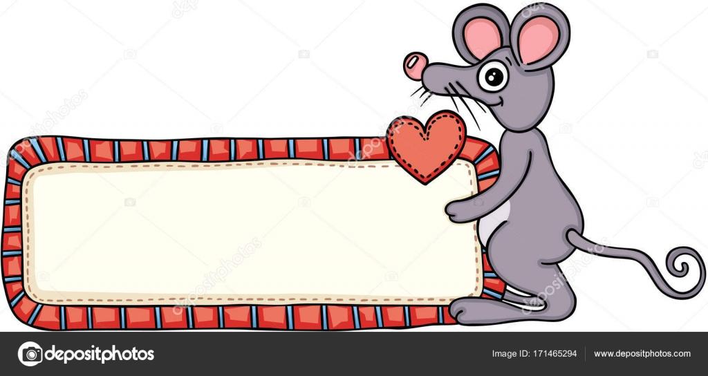 Süße Maus Mit Einem Liebe Leere Beschriftung Schild Stockvektor